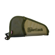 "BIRCHWOOD-CASEY SPORTLOCK 13""HG SOFT CASE, KHAKI/GREY/GRN"